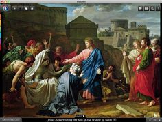 Jesus Resurrecting the Son of the Widow of Naim. Bible360 is a free interactive socially-enabled app that brings the scripture to life through video, photos, maps, virtual tours, reading plans and more! Download it for FREE, www.bible360.com