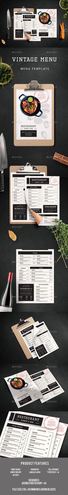 Vintage Menu — Photoshop PSD #bistro #burger menu • Download ➝ https://graphicriver.net/item/vintage-menu/19198851?ref=pxcr