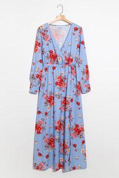 d46a8aa3972 Subliminal Roses Long Sleeve Bardot Wrap Maxi Dress – risechic.com Wholesale  Clothing