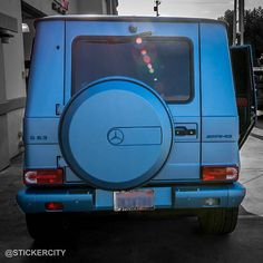 Rear view of Kylie Jenner's Mercedes G wagon in the matte frozen blue