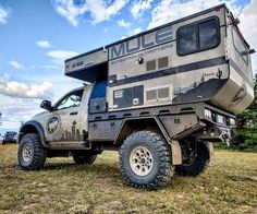 This expedition truck by Mule is very impressive! Truck Flatbeds, Truck Tent, Truck Bed Camper, Pickup Camper, Off Road Camper, Truck Camping, Overland Truck, Overland Trailer, Expedition Vehicle