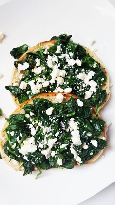 {Healthy, Low Calorie, Vegan-adaptable} Quick, easy, and flavorful, this spinach and feta toast is perfect for a nutritious snack!