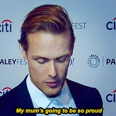 """lallybroch-lass: """"Sam and Caitriona accepting their Anglophile Awards"""""""