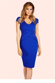7fc7383a891 Jessica Wright Alissa Cobalt Structured Pleat Midi Dress Jessica Wright