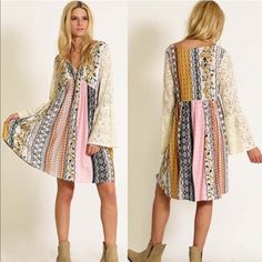 HOLD for Laurie RYLAND printed dress w/ bell sleeves - MUSTARD size SMALL Dresses Long Sleeve