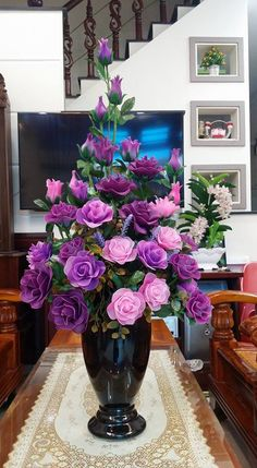Beautiful purple and pink roses