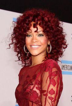 Rihanna's Cute and Curly Burgundy Lob