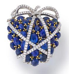 A Sapphire and Diamond 'Wrapped Heart' Brooch, Verdura