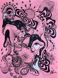 La Vie En Rose print, printed on high quality cardstock! Trippy Drawings, Psychedelic Drawings, Art Drawings Sketches, Arte Grunge, Psychadelic Art, Hippie Wallpaper, Arte Sketchbook, Funky Art, Hippie Art
