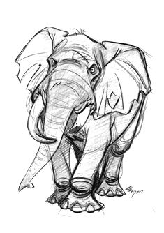 learn to sketch Cartoon Sketches, Animal Sketches, Cartoon Art, Animal Drawings, Cool Drawings, Drawing Sketches, Sketching, Elephant Art, Elephant Sketch