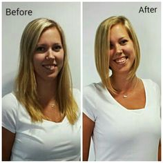 Medium length hairstyle to Short Angled Bob! Blonde hairstyles, makeovers, www.hairdesigners.ca