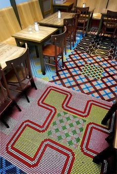 Too crazy.. but might be nice to consider an intricate mosaic floor pattern for the fitness - resemble costumes