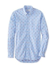 65% OFF Troy Shirtmakers Guild Men's Long Sleeve Paisley Jaquard Gingham Button Down Shirt (Blue)