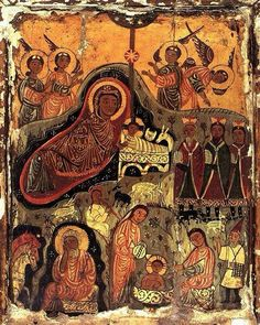 XC__Γεννηση _dec 25 ( Nativity icon, St Catherine's Monastery, Sinai Early Christian, Christian Art, Religious Icons, Religious Art, Saint Catherine's Monastery, Byzantine Art, Renaissance Paintings, Orthodox Icons, Medieval Art