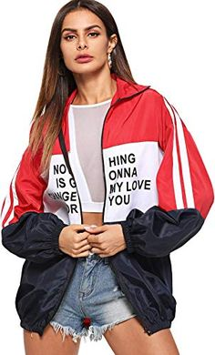 Shop Zip Up Color Block Letter Print Jacket online. SHEIN offers Zip Up Color Block Letter Print Jacket & more to fit your fashionable needs. Romwe, Windbreaker Jacket, Bomber Jacket, Block Lettering, Print Jacket, Jackets Online, Fashion News, Sporty Fashion, Fashion Black