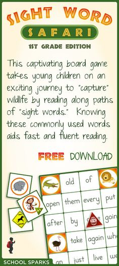 Free board game that encourages children to read Dolch sight words as they collect animal cards on a wildlife safari.  Great for kids ages 3 - 6.
