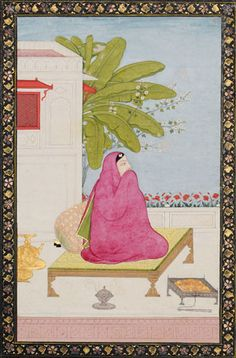 """Lone maiden wrapped in shawl, Guler, Circa 1800 """"The promise of spring and perhaps reunion with her lover is represented by the blossoms emerging between the plantain leaves and the row of red poppy flowers"""""""