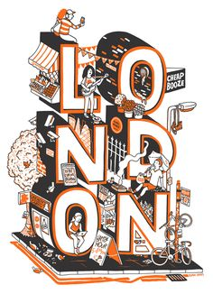 Hand drawn 'London Life' print for Jealous gallery. Screen print edition available from Jealous and smaller risograph prints are for sale on my shop (See links below project) Cool Lettering, Typography Letters, Typography Design, London Illustration, Type Illustration, London Eye, Isometric Design, Conceptual Design, Doodle Art