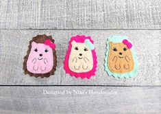 Cute Hedgehog inspired 3 Piece Iron On Felt Applique Patches  #