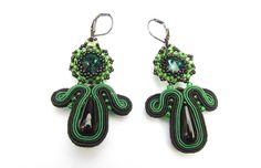 Great black and green earrings.