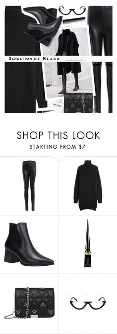 """""""sensation of black"""" by meyli-meyli ❤ liked on Polyvore featuring Isabel Marant, Victoria Beckham, Christian Louboutin, Vision, GHD, allblackoutfit and gamiss"""