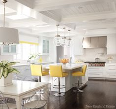 white kitchen with yellow accent