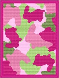 Bunny-Flage Pink Camouflage Afghan Blanket Graph Crochet Pattern