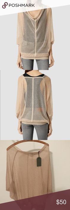 NWT all saints top Brand-new never worn lightweight sweater. With tag. Slightly Oversized. Beautiful neutral color All Saints Sweaters