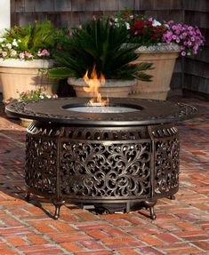 This Sedona Cast Aluminum LPG Fire Pit Table not only functions as a fire pit, but an outdoor patio table as well with its convenient cast aluminum fire bowl lid. This unit produces a beautiful full flame. Comes complete with fire glass, and covers for both fire pit and propane tank.