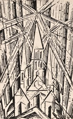 Lyonel Feininger, Cathedral for Program of the State Bauhaus in Weimar, woodcut, 1919