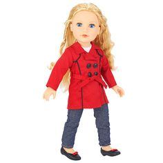 Cute.  Journey Girls 18 inch London Doll - Meredith (Red Trench Coat and Jeans)   ToysRUs