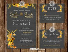 The Autumn Sunflower Collection Set - Printable Wedding Invitation - Sunflower - Country - Rustic - Fall - Autumn - Hay - Wheat - Chalkboard...