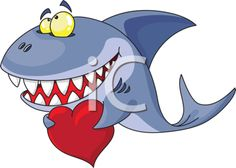 Royalty Free Clipart Image of a Shark With a Heart