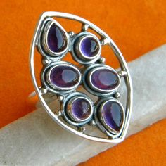 Amethyst Ring Solid 925 Sterling Silver Pure Handmade Size: Custom Variable (6, 7, 8, 9, 10) Amethyst Ring, Silver Ring, Solid Ring