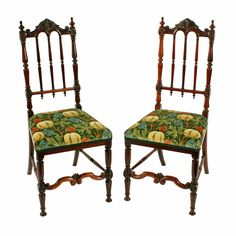 Fine Pair of Victorian Rosewood Chairs   A pair of mid 19th century rosewood high back chairs.  The chairs have a turned rosewood frame with a spindle back and cross rails to the legs.  The top rail to the back is serpentine in shape and carved with turned finials.  The chair legs are turned with a serpentine carved rail in-between the front legs.  The chairs have stuff over seats with a contemporary upholstery.  The chairs are in very good condition. (Circa 1850)  Height 98cm (38.6 inches) Antique Bedroom Furniture, High Back Chairs, Antique Chairs, Drawing Room, 6 Inches, 19th Century, Sofas, Upholstery, Armchair