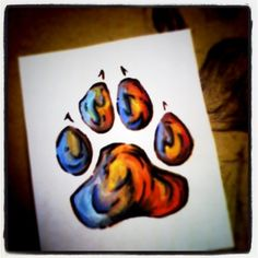 Ooh this would be a good memorial watercolor tattoo!! Dog foot print with watercolor instead of around the outside