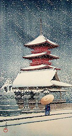 """Japanese Art Print """"Snow at Ueno Toshogu Shrine"""" by Kawase Hasui. Shin Hanga and Art Reproductions http://www.amazon.com/dp/B00VCGOCBO/ref=cm_sw_r_pi_dp_.9atwb1KYQ9SN"""
