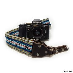 Blue Jacquard Handmade Camera Strap w/ Leather End,made by Feedback Straps