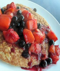 Protein Pancake via Joy Bauer (Today Show): Combine 1/2 c quick cooking rolled oats, 4 egg whites, 1/2 tsp vanilla extract, 1 Tbsp granulated sugar, and 1/2 tsp ground cinnamon. Top with berries.