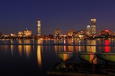 View of Boston from across the Charles River near MIT Boathouse in Cambridge.