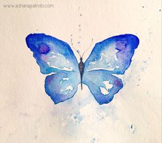 Borboleta Azul / Blue Butterfly by Adriana Galindo. aquarela/watercolor, 15 x Butterfly Tattoos Images, 3d Butterfly Tattoo, Butterfly Watercolor, Watercolor Drawing, Blue Butterfly, Painting & Drawing, Aquarell Tattoos, Art Drawings, Sketches
