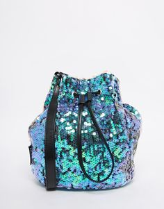 Image 1 of Jaded London Mermaid Iridescent Sequin Bucket Bag                                                                                                                                                                                 More