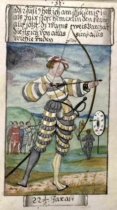 At an archery contest at twenty-two years of age, wearing a similar suit and a foppish ruffled hat. Res Obscura: A Renaissance Merchant's Life in Clothing Medieval Life, Medieval Art, Medieval Archer, Medieval Games, Medieval Manuscript, Illuminated Manuscript, Landsknecht, Renaissance Fashion, Elizabethan Fashion