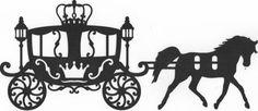 Hermoso coche de estilo Cenicienta con silueta de caballo