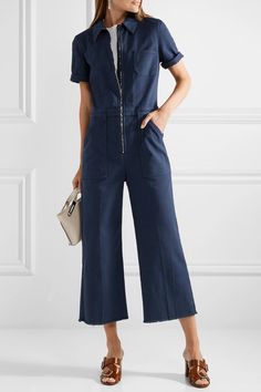 Discounts Online Free Shipping Best Prices Cropped Cotton-blend Twill Jumpsuit - Dark denim Stella McCartney QIOzWxGiXa