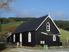 Corrugated metal church building in Ganllwyd by Trevor Littlewood, via Geograph Church Building, Building Plans, Building A House, Corregated Metal, Corrugated Roofing, Black Exterior, Steel Buildings, Metal Homes, Prefab Homes