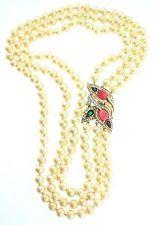Vtg TRIFARI Jewels of India JOI Triple Strand Fx Pearl Rhinestone Cab NECKLACE