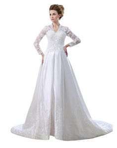 JOLLY BRIDAL Satin Lace Wedding Dress with Long Sleeves | Well Aids