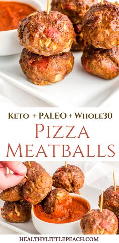 Clean Eating Diet These pizza inspired meatballs are filled with pepperonis, pizza sauce and onions. Keto, Clean Eating, and Paleo. Keto Foods, Whole30 Pizza, Recetas Whole30, Meatball Pizza, Low Carb Recipes, Healthy Recipes, Paleo Recipes For Kids, Healthy Cooking, Paleo Kids