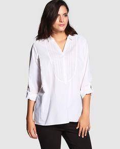 Blusa de mujer talla grande Couchel de manga larga con vainica